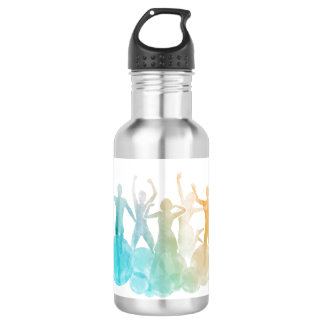 Group of Friends Jumping for Joy in Watercolor 532 Ml Water Bottle