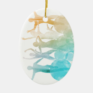 Group of Friends Jumping for Joy in Watercolor Ceramic Ornament