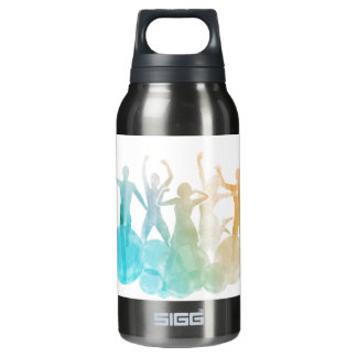 Group of Friends Jumping for Joy in Watercolor Insulated Water Bottle