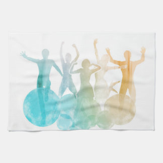 Group of Friends Jumping for Joy in Watercolor Kitchen Towel