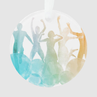 Group of Friends Jumping for Joy in Watercolor Ornament