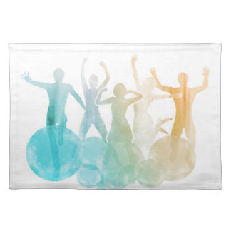 Group of Friends Jumping for Joy in Watercolor Place Mats
