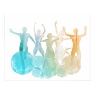 Group of Friends Jumping for Joy in Watercolor Postcard