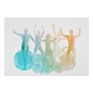 Group of Friends Jumping for Joy in Watercolor Poster