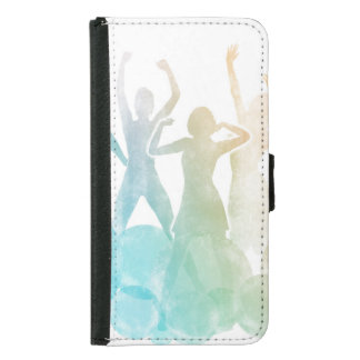 Group of Friends Jumping for Joy in Watercolor Samsung Galaxy S5 Wallet Case