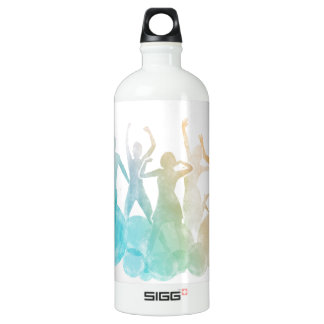 Group of Friends Jumping for Joy in Watercolor Water Bottle
