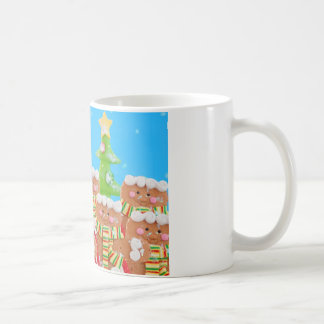 group of gingerbread men with christmas trees coffee mug
