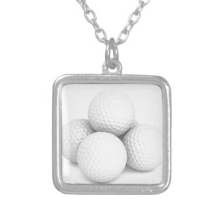 Group of golf balls silver plated necklace