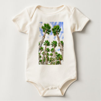Group of high straight palm trees baby bodysuit