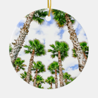 Group of high straight palm trees ceramic ornament