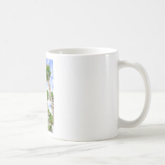 Group of high straight palm trees coffee mug