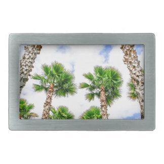 Group of high straight palm trees rectangular belt buckles