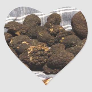 Group of italian expensive black truffles heart sticker