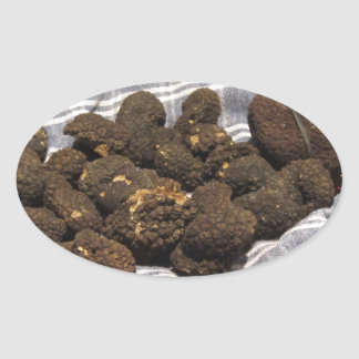 Group of italian expensive black truffles oval sticker