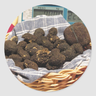 Group of italian expensive black truffles round sticker