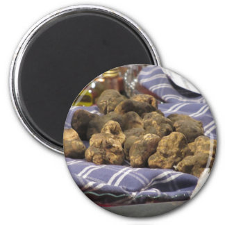 Group of italian expensive white truffles 2 inch round magnet
