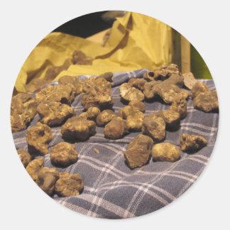 Group of italian expensive white truffles classic round sticker