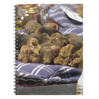 Group of italian expensive white truffles notebooks