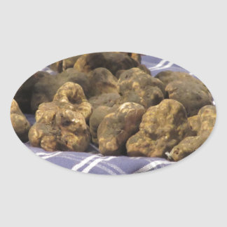 Group of italian expensive white truffles oval sticker