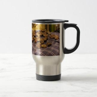 Group of italian expensive white truffles travel mug