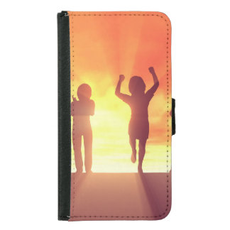Group of Kids Having Fun as a Abstract Background Samsung Galaxy S5 Wallet Case