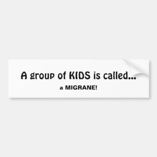 Group of Kids is called a Migrane Fun Quote Bumper Sticker