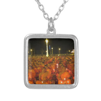 Group of Meditators, India Silver Plated Necklace