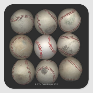 Group of old baseballs on black background stickers