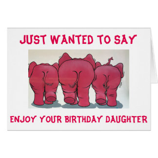 GROUP OF PINK ELEPHANTS HAPPY BIRTHDAY DAUGHTER CARD