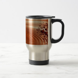 Group of red hearts flowing into the vibrations travel mug