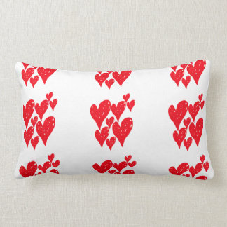 Group of red love heart in a pattern on cushion