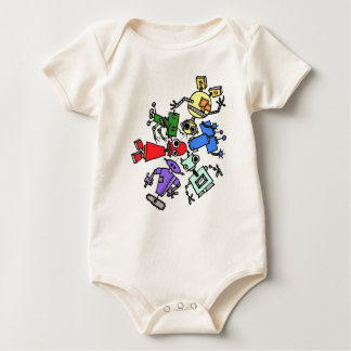 Group of robots 2 baby bodysuit