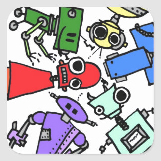 Group of robots 2 square sticker
