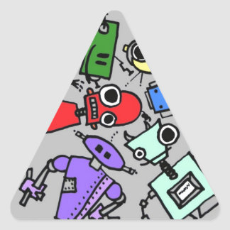 Group of robots 4 triangle sticker