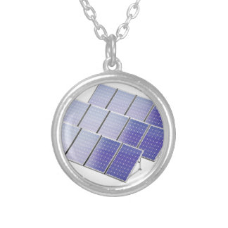 Group of solar panels silver plated necklace