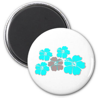 Group of Teal Hibiscus 2 Inch Round Magnet