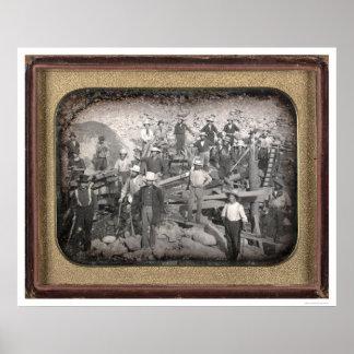 Group of Twenty-three Miners at Sluice [ca. 1852] Poster