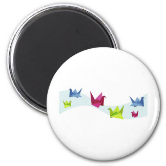 Group of various Origami swan 2 Inch Round Magnet