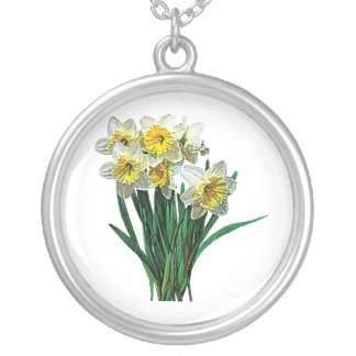 Group of White Daffodils Silver Plated Necklace