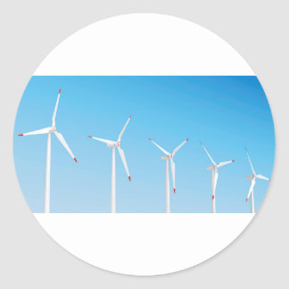 Group of wind turbines classic round sticker