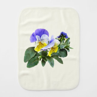 Group Of Yellow And Purple Pansies Burp Cloth