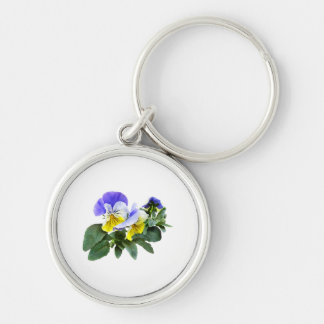 Group Of Yellow And Purple Pansies Keychain