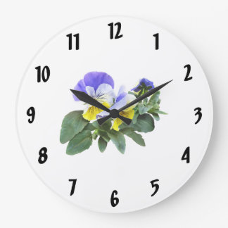 Group Of Yellow And Purple Pansies Large Clock