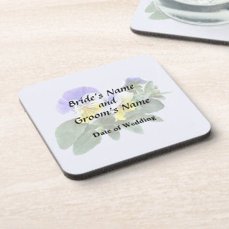 Group Of Yellow And Purple Pansies Wedding Product Beverage Coasters