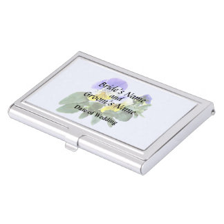 Group Of Yellow And Purple Pansies Wedding Product Business Card Holders