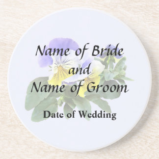 Group Of Yellow And Purple Pansies Wedding Product Drink Coasters