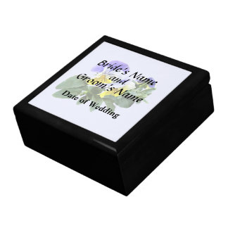 Group Of Yellow And Purple Pansies Wedding Product Gift Box