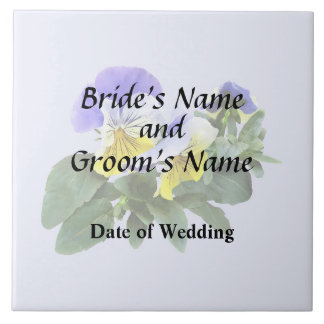 Group Of Yellow And Purple Pansies Wedding Product Tile