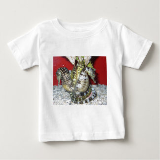 Group of Yellow-Green, Brown & White Sea Horses Baby T-Shirt