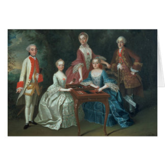 Group portrait of the Harrach family playing Card